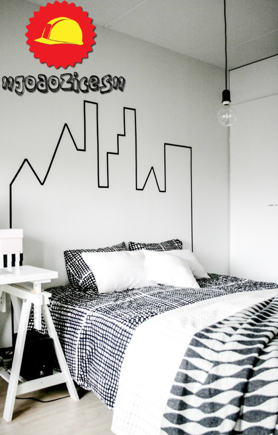 diy headboard skyline tape (1)